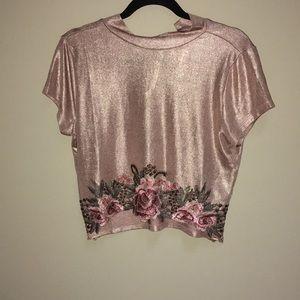 Rose Gold shimmer crop top w/ Appliqué Size L